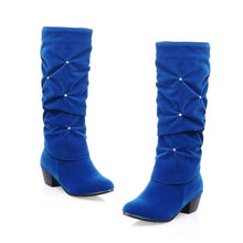 Load image into Gallery viewer, New Women Low Heel Mid-calf Winter Boots Fashion Rhinestone Round Toe Snow Boots Party Wedding Shoes Red Black Blue
