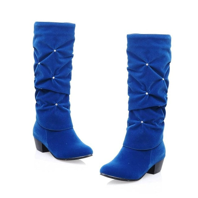 New Women Low Heel Mid-calf Winter Boots Fashion Rhinestone Round Toe Snow Boots Party Wedding Shoes Red Black Blue