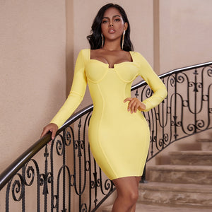 Deer Lady Long Sleeve Bandage Dress 2019 Women Yellow Bodycon Winter Dress Mini Sexy Bandage Dress Party Celebrity Bodycon Dress