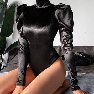 Sampic Women Sexy Casual Stain Turtleneck Long Puff Sleeve Bodysuit Tops Black Ribbed Female Fashion Party Short Romper Bodysuit