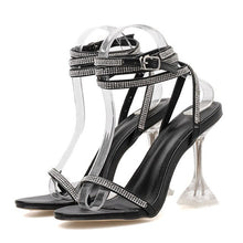 Load image into Gallery viewer, 2020 Women Luxurious Crystal Pumps 9.5cm Celebrity Wearing Fashion Style PVC Buckle Sandals High Heels Party Wedding Shoes