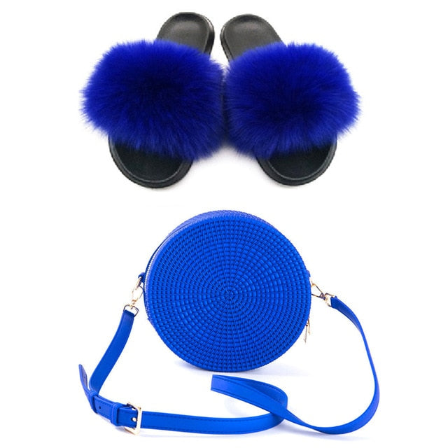 Summer Women Real Fox Fur Slippers Furry Fur Slides Rainbow Jelly Bags Sweet Plush Slippers Ladies Party Shoe Brand slippers
