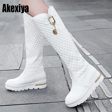 Load image into Gallery viewer, 2020 New Women Boots Knee High Boots Square Heels Fashion Round Toe Rubber Sole Woman Leather Shoes Winter Black