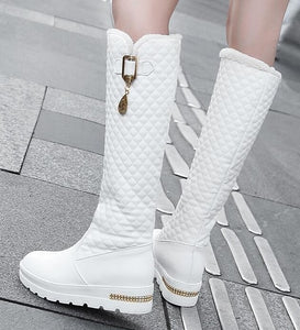 2020 New Women Boots Knee High Boots Square Heels Fashion Round Toe Rubber Sole Woman Leather Shoes Winter Black