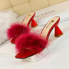 Load image into Gallery viewer, Korean-Style Fashion Slippers Woman with Thick with High Heels Square Head Open Toe 2020 New Furry Word Women Slippers
