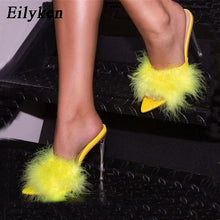 Load image into Gallery viewer, Eilyken Summer Sexy Pointed Toe Furry Slippers ladies Sandals Fashion Design Clear Perspex Heels Women Mules Shoes Fluffy Slides