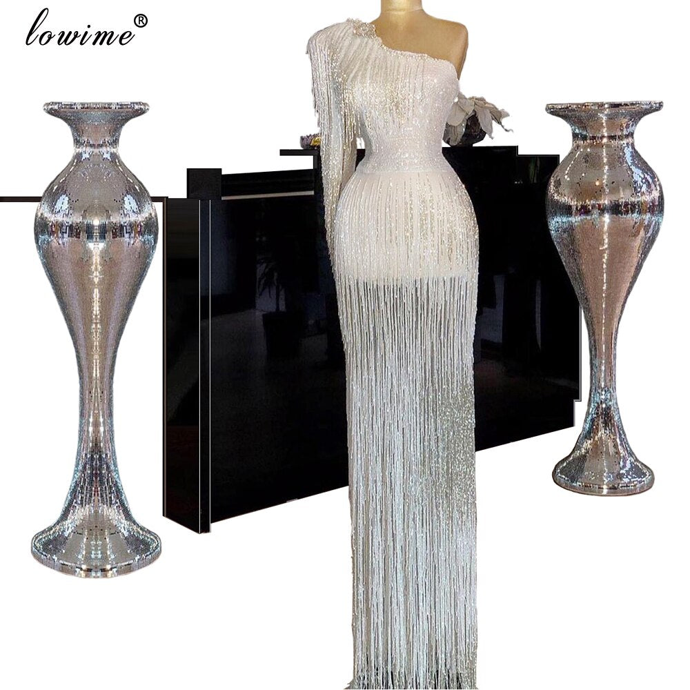 Muslim One Shoulder Tassels Celebrity Dress 2020 Mermaid Evening Dress Long вечернее платье Red Carpet Gowns Cocktail Dresses