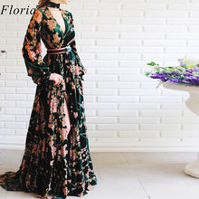 Load image into Gallery viewer, 2020 Vintage Flowers Pattern Celebrity Dress Long Kaftan Couture Formal Opening Ceremony Dress Fashion Photograph Gowns Custom