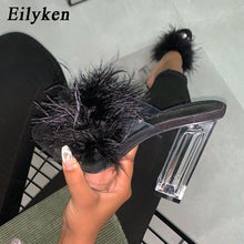 Load image into Gallery viewer, Eilyken Fashion Design Furry Open Toe Slippers Clear Crystal High Heels Women Shoes Square Heel Transparent Female Sandals