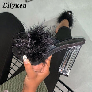 Eilyken Fashion Design Furry Open Toe Slippers Clear Crystal High Heels Women Shoes Square Heel Transparent Female Sandals