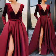 Load image into Gallery viewer, New  Michael Costello Free Shipping Sexy Mermaid Long Sleeve Ruffles Chapel Train Celebrity Dress Red Carpet Evening Gown