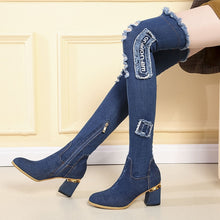 Load image into Gallery viewer, Lucyever Womens Denim Boots Over The Knee Pointed Toe Thick High Heels Shoes Woman Casual Tassel Cut Out Jeans Long Botas Mujer