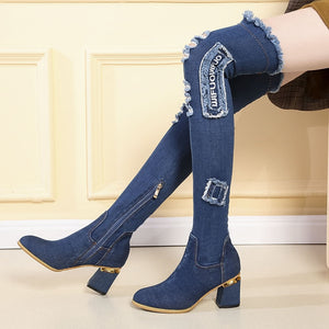 Lucyever Womens Denim Boots Over The Knee Pointed Toe Thick High Heels Shoes Woman Casual Tassel Cut Out Jeans Long Botas Mujer