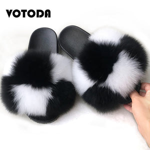 VOTODA Fluffy Fur Slippers Women Fur Flip Flops Flat Furry Real Fox Hair Slides Summer Sandals With Fur Luxury Woman Furry Shoes