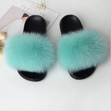 Load image into Gallery viewer, VOTODA Fluffy Fur Slippers Women Fur Flip Flops Flat Furry Real Fox Hair Slides Summer Sandals With Fur Luxury Woman Furry Shoes