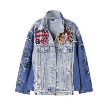 Load image into Gallery viewer, Spring Hip hop blue jeans jacket women Ripped Hole Autumn Denim Jacket women 2020 Graffit Print Spliced Coat female NZY32