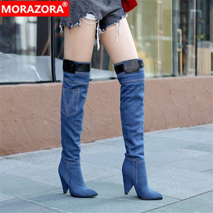 MORAZORA 2020 new arrival thigh high boots women pointed toe denim autumn winter high heels boots woman party prom shoes