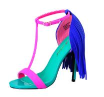 Load image into Gallery viewer, Sinsaut summer brand shoes high heels sandals women ankle strap and platform sandals Fringe Summer Beach sandals colorful