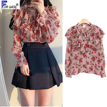 Load image into Gallery viewer, Autumn Fall Design Tops Basic Wear Womens Flare Sleeve Floral Chiffon Sweet Date Lady Ruffled Bow Tie Blouse Shirt Pink 8118