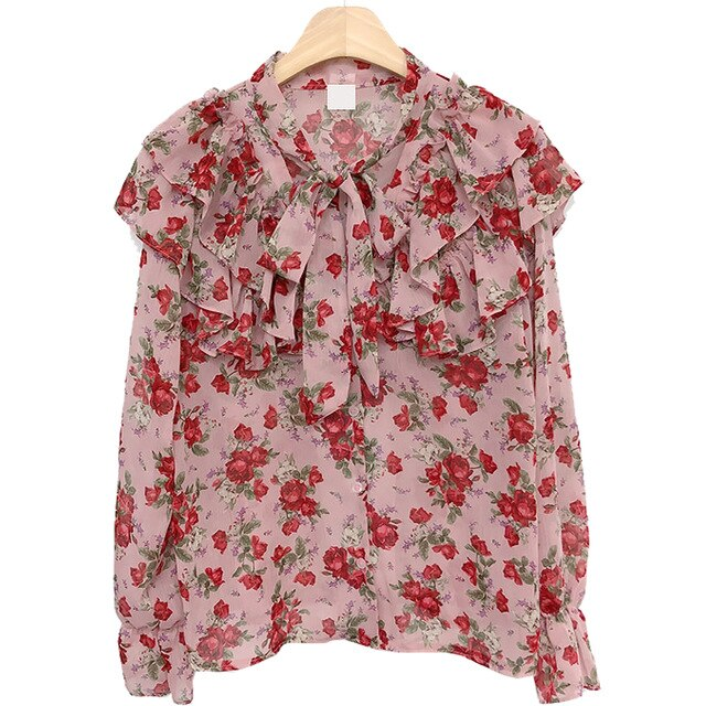 Autumn Fall Design Tops Basic Wear Womens Flare Sleeve Floral Chiffon Sweet Date Lady Ruffled Bow Tie Blouse Shirt Pink 8118