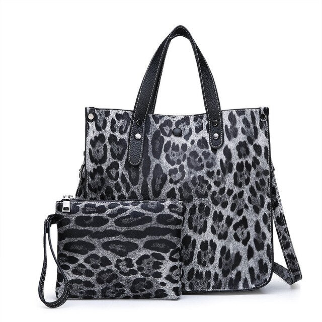 Luxury Soft Leather Handbags High Quality Women Leopard Tote Bags Casual Shopping Bag Vintage Shoulder Bags Purses and Handbags
