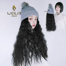 Load image into Gallery viewer, WEILAI Wig with Wool Knitted Hat One Woman Fall/winter Long Hair Wool Roll Net Red Fashion Long Curly Hair Full Head Style