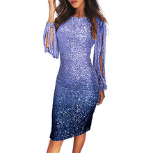 Load image into Gallery viewer, Women's Dress Glitter Dress Slim Bodycon Dresses For Women Long Sleeve Clothes Sequin Evening Party Tassels Midi Dresses