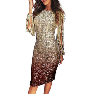 Women's Dress Glitter Dress Slim Bodycon Dresses For Women Long Sleeve Clothes Sequin Evening Party Tassels Midi Dresses