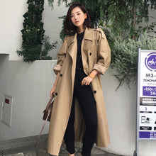 Load image into Gallery viewer, khaki Trench Coat Casual women's long Outerwear loose clothes for lady with belt spring autumn fashion high quality army green