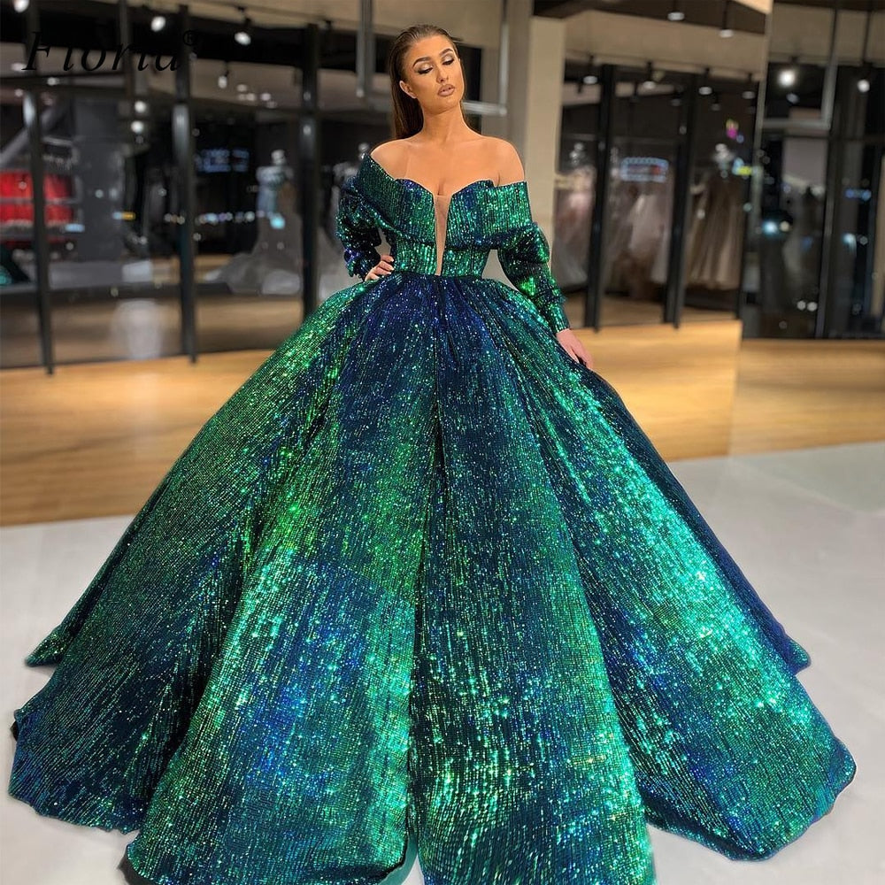 Gorgeous Dark Green Sequins Celebrity Dresses 2020 Turkish Formal Evening Gowns Red Carpet Runaway Gowns Kaftan Pregnant Vestido