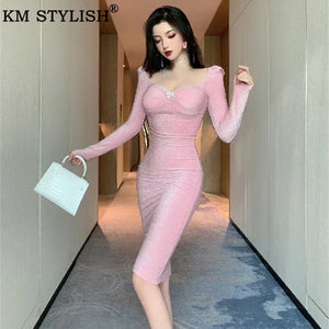 Women's Sexy Party Dress Sheath Bodycon Pink Shiny Tube Top Long Sleeve Vestidos Package Hip Women's Clothes One-piece Dresses