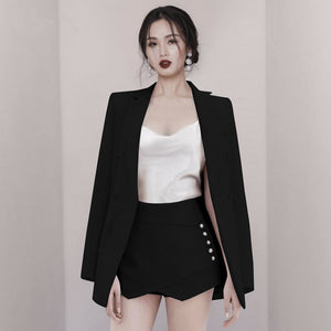 Spot suit female 2020 spring new OL temperament suit jacket high waist shorts two-piece solid color wild women's clothes