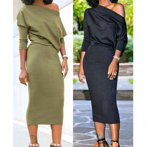 Elegant Women's Sexy Off Shoulder Bandage Bodycon Dress OL Ladies Long Sleeve Casual Workout Daily Dress Women Clothes