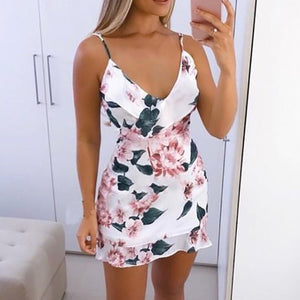 Sexy V -section Summer Dress Floral Printed Strappy Mini Dress Women's Clothes Summer Beach Party Clothes Casual Beach Clothes