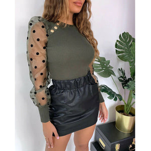 Women's Sheer Mesh See-through Blouse 2019 New Fashion Elegant Slim Polka Dot Puff Long Sleeve Tops Shirt Spring Fall Blouse