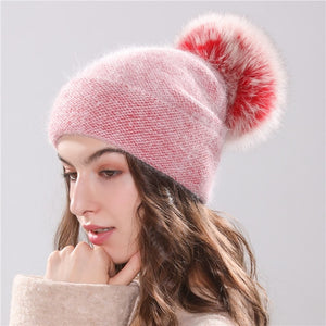 Xthree new women's hat winter beanie knitted hat Angola Rabbit fur Bonnet girl 's hat fall female cap with fur pom pom