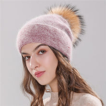 Load image into Gallery viewer, Xthree new women's hat winter beanie knitted hat Angola Rabbit fur Bonnet girl 's hat fall female cap with fur pom pom