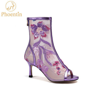 Phoentin purple mesh female shoes cheongsam embroidered flower boots women 2020 summer lace dress shoes bling peep toe  FT872