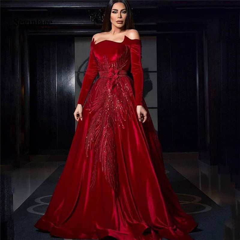Sevintage 2020 Red Off Shoulder Celebrity Dresses Long Sleeve Velvet Red Carpet Dress Sequines Formal Evening Party Gowns