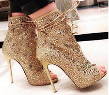 Load image into Gallery viewer, Hottest Selling Sparkling Women Crytal Boots Tie-up Rose Gold Silver Diamond Wedding Shoes Dress Pums Open Toe Ankle Boots