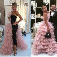 Load image into Gallery viewer, Pink Black 2019 Formal Celebrity Dresses Ball Gown Strapless Tulle Tiered Sexy Long Evening Dresses Famous Red Carpet Dresses