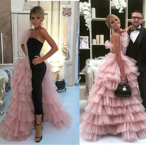Pink Black 2019 Formal Celebrity Dresses Ball Gown Strapless Tulle Tiered Sexy Long Evening Dresses Famous Red Carpet Dresses