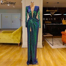 Load image into Gallery viewer, New Arrival Sparkly Formal Celebrity Dresses 2019 Long Mermaid Deep V-Neck High Side Split Evening Prom Party Gowns Abendkleider