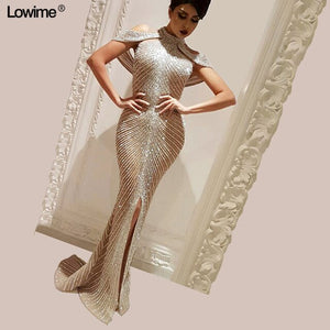 Sexy Split Mermaid Celebrity Dresses 2019 Red Carpet Dresses Cap Sleeve vestido de festa Full Hand Made Beading Dress