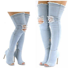 Load image into Gallery viewer, Hot Selling Denim Pink Thigh High Boots Peep Toe Ripped Jeans Overknee Boots Women High Heel Cut-out Gladaitor Sandals Boots
