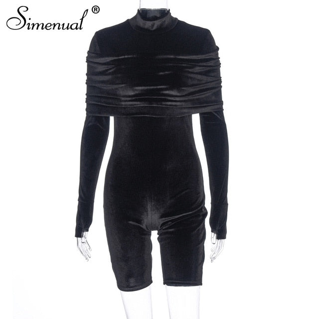 Simenual Skinny Fashion Velvet Black Rompers Women Jumpsuit With Gloves Long Sleeve Fashion Party Ruched Biker Playsuits Autumn