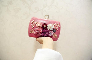 2020 high quality luxury handmade flowers evening bags brand dinner clutch purse with chain flower banquet bags  MN258