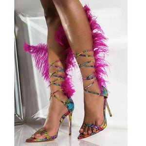 MStacchi New Feather Sandals For Women Ostrich Hair Decor High Heel Sandalia Feminina Gladiators Sandals Ladies Fur Party Shoes