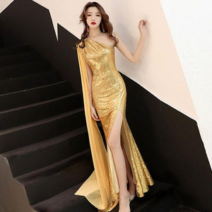 Luxury Sleeveless Evening Gown Sequins Women  Formal Celebrities Dress Bling Abendkleider Fishtail Vestido De Noche Elegante
