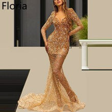 Load image into Gallery viewer, 2020 Luxury Gold Celebrity Dress With Crystals and beading Long Formal Evening Dress Sexy Prom Dress Party Red Carpet Gowns